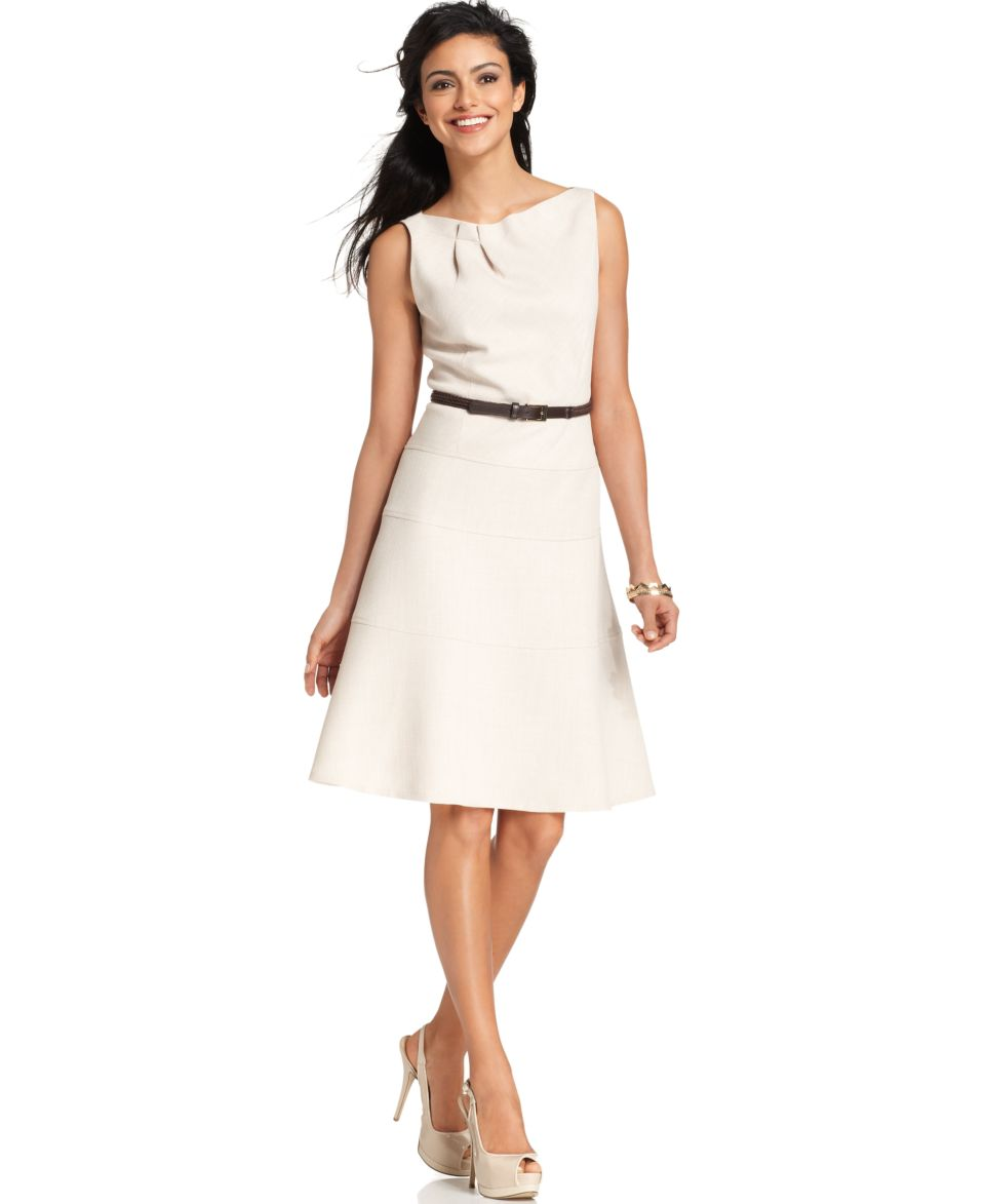 Anne Klein Dress, Sleeveless Belted Folded Neckline A Line   Dresses   Women