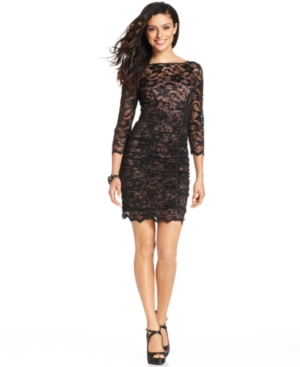 UPC 689886001976 product image for Jessica Howard Three-Quarter-Sleeve Ruched Lace Dress | upcitemdb.com