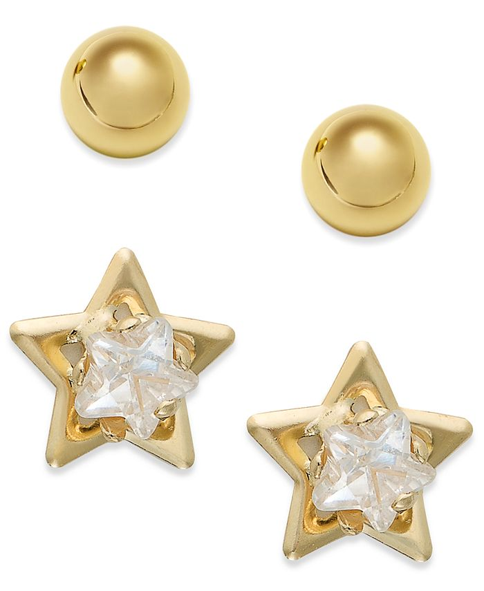 Macy's - 10k Gold Earrings Set, Cubic Zirconia Accent Star and Ball Stud Earrings