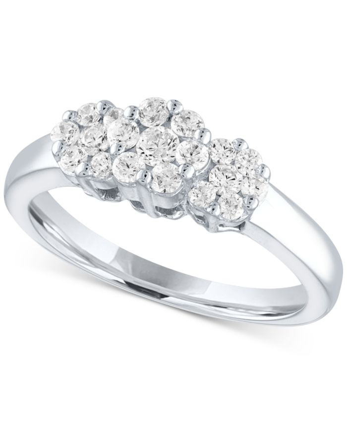 Forever Grown Diamonds Lab-Created Diamond Triple Cluster Statement Ring (1/2 ct. t.w.) in Sterling Silver & Reviews - Rings - Jewelry & Watches - Macy's