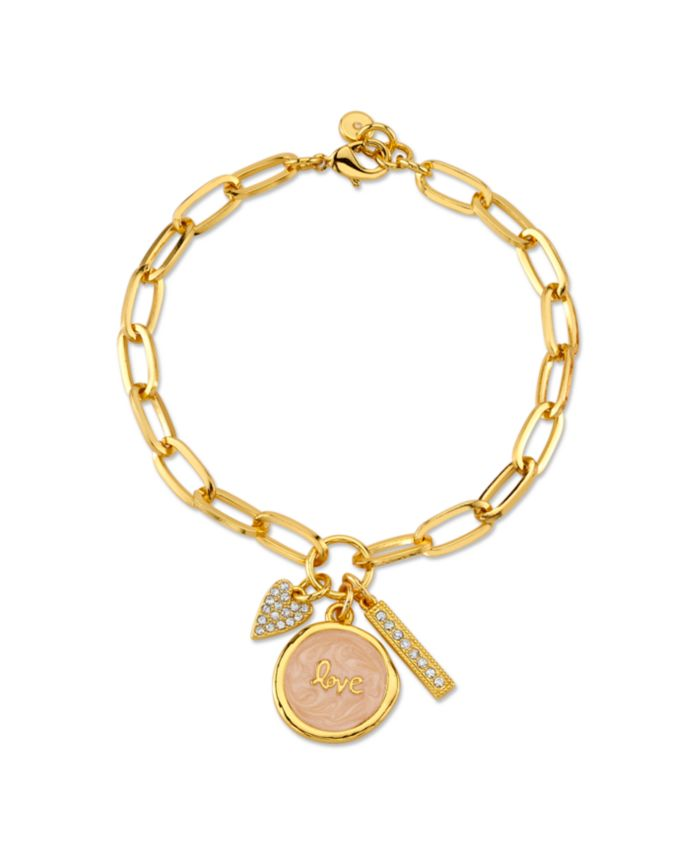 "Unwritten Gold Tone Fine Plated Silver ""Love"" Crystal Heart Charm Link Bracelet & Reviews - Bracelets - Jewelry & Watches - Macy's"