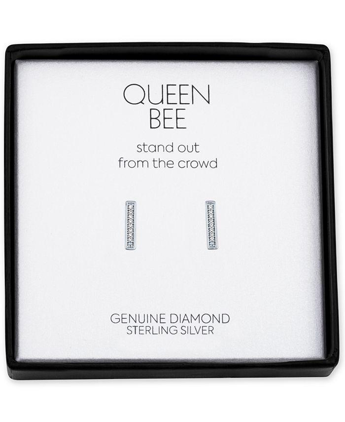 Macy's - Diamond Accent Bar Stud Earrings in Sterling Silver