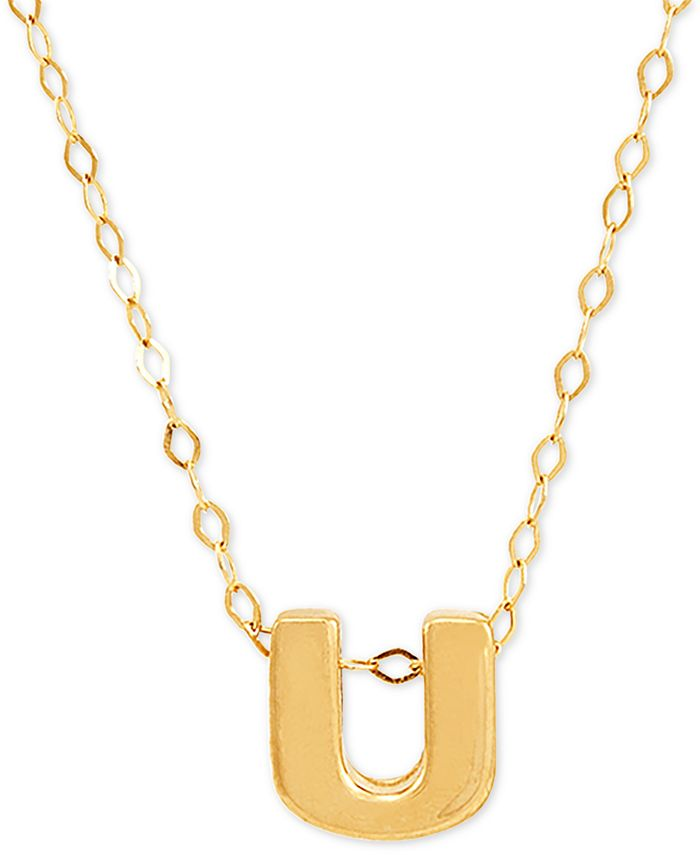 """Macy's - Block Initial 18"""" Pendant Necklace in 10k Gold"""