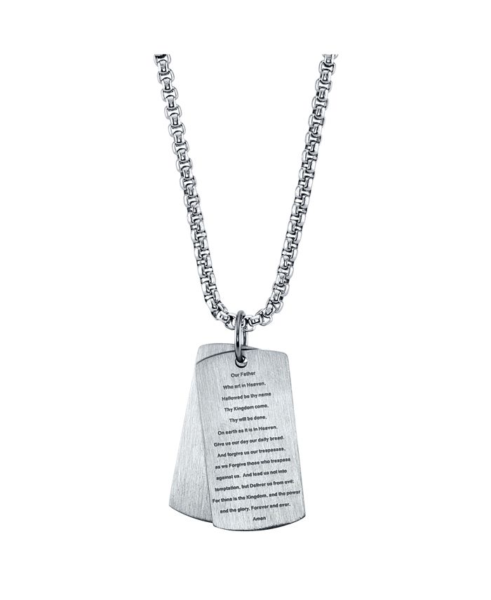 """He Rocks - Our Father Prayer Dog Tag Pendant Necklace, 24"""""""