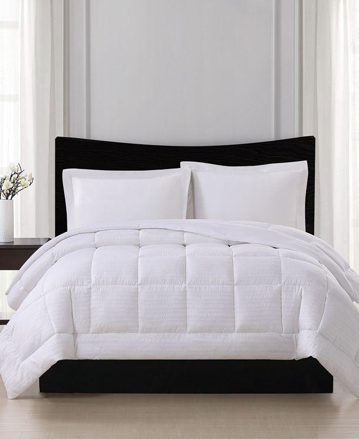 London Fog - Embossed Stripe Seersucker Down Alternative Comforter, Full/Queen
