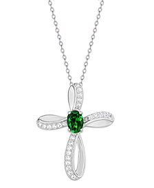 Simulated Cross Pendant Necklace With Cubic Zirconia Accents in Fine Silver Plate
