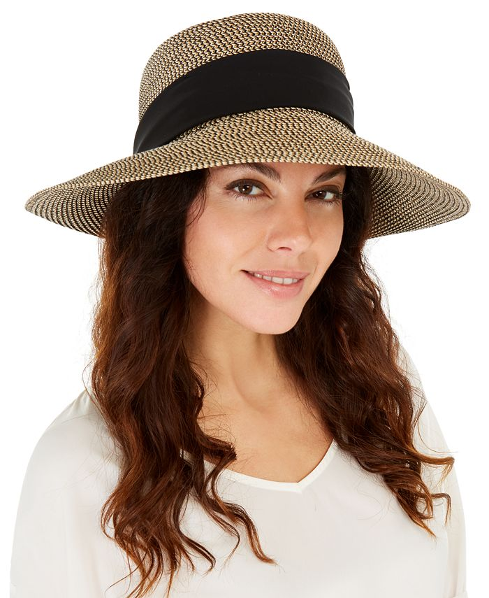 Nine West - Mixed-Braid Scarf Floppy Hat