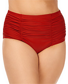 Raisins Curve Trendy Plus Size Ruched Costa Tummy Control High-Waist Bikini Bottoms