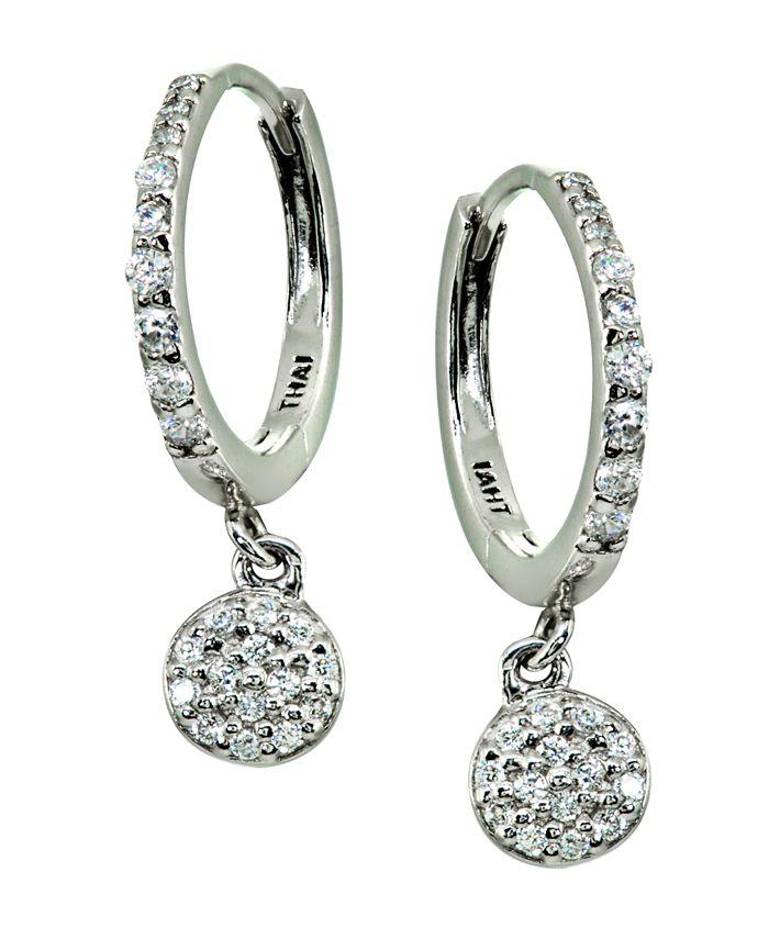Giani Bernini - Pavé Cubic Zirconia Disc Charm Drop Huggie Hoop Earring in Sterling Silver