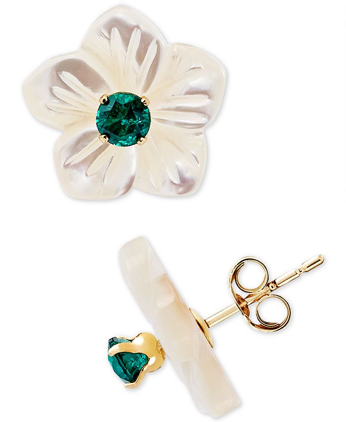 Macy's - Mother-of-Pearl Flower Stud Earrings and Lab-Created Emerald in 10k Gold.  Also in lab-created ruby and sapphire.