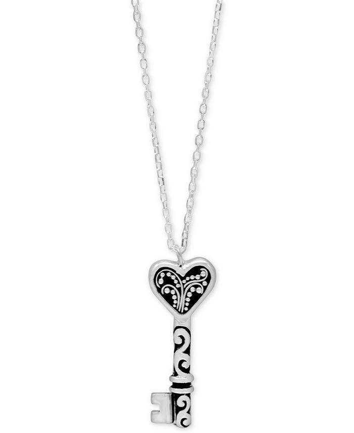 """Lois Hill - Filigree Key Pendant Necklace in Sterling Silver, 16"""" + 2"""" extender"""