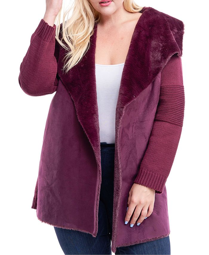 Fever - Plus Size Mixed-Media Faux-Fur Lined Coat