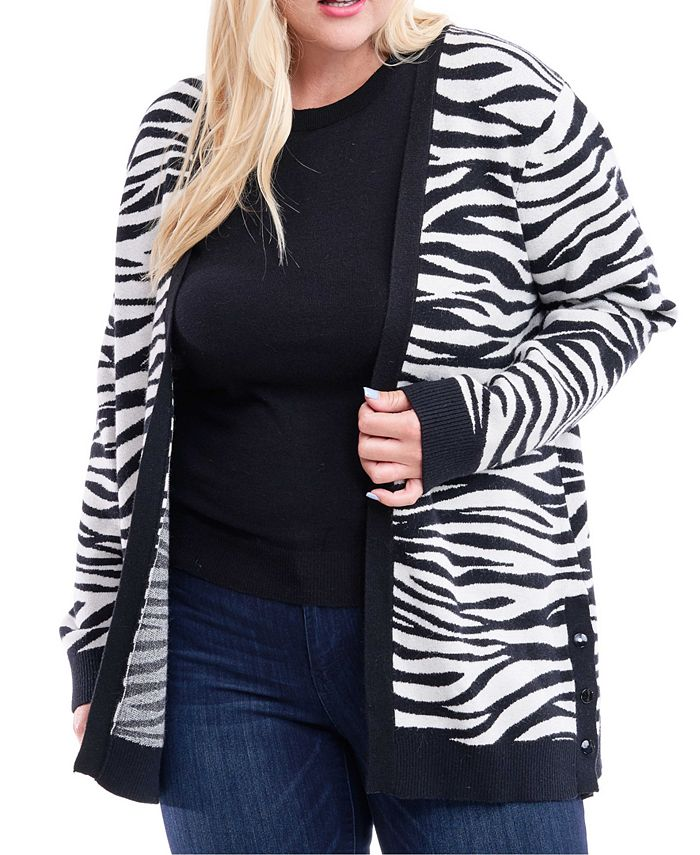 Fever - Plus Size Zebra-Print Open-Front Cardigan
