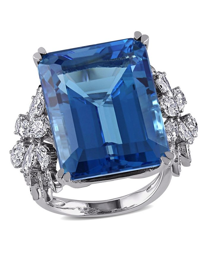 Macy's - Blue Topaz (28 1/4 ct. t.w.) and Diamond (1 3/4 ct. t.w.) Ring in 14k White Gold