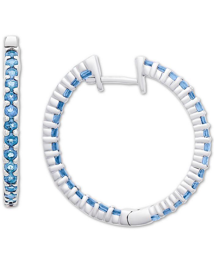 """Macy's - Blue Topaz Small In & Out Hoop Earrings (3 ct. t.w.) in Sterling Silver, 0.59"""""""