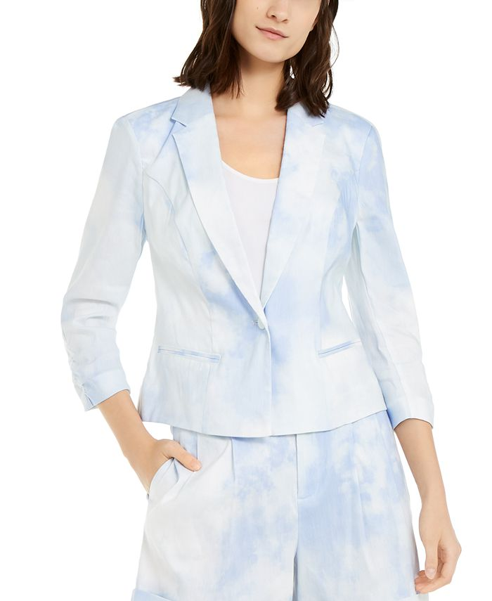 INC International Concepts - Short Tie-Dye Linen-Blend Blazer