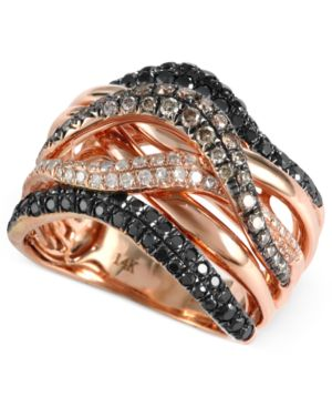 Confetti by EFFY Collection Black (3/4 ct. t.w.), Champagne (1/3 ct. t.w) and White Diamond (1/6 ct. t.w.) Wavy Ring in 14k Rose Gold