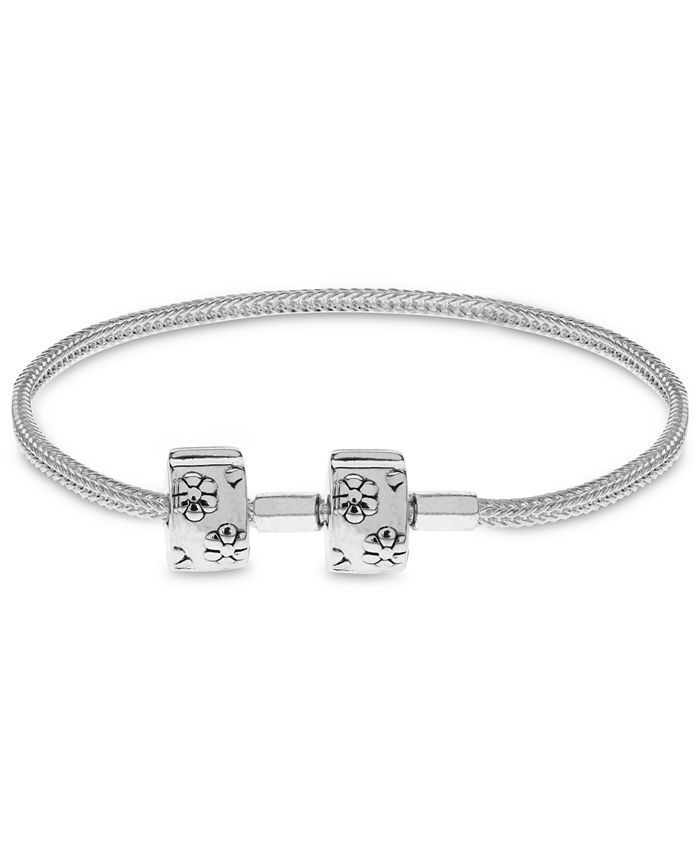 Rhona Sutton - Children's Floral Clasp Foxtail Chain Charm Carrier Bracelet with Stopper in Sterling Silver