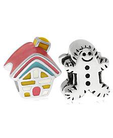 Rhona Sutton 4 Kids Children's  Enamel House Gingerbread Man Bead Charms - Set of 2 in Sterling Silver