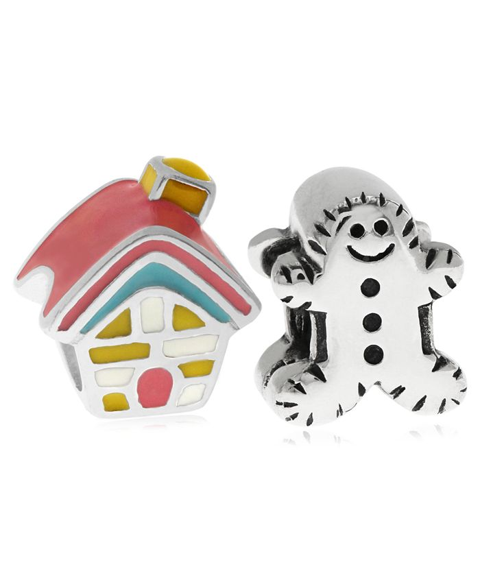 Rhona Sutton - Children's Enamel House Gingerbread Man Bead Charms - Set of 2 in Sterling Silver