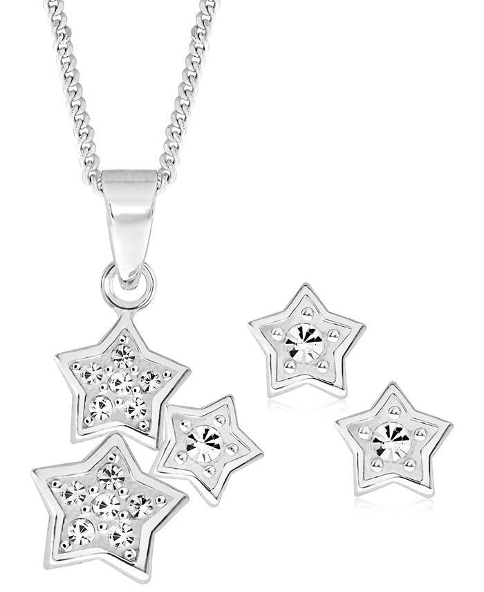 Rhona Sutton - Children's Cubic Zirconia Stars Pendant Necklace Stud Earrings Set in Sterling Silver