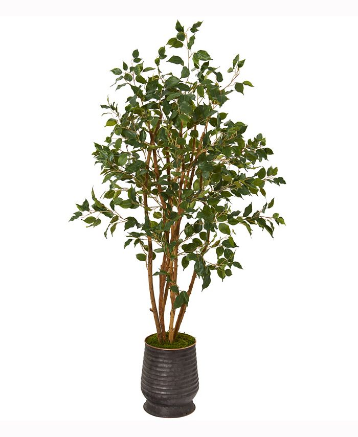 Nearly Natural - 4.5ft. Ficus Artificial Tree in Ribbed Metal Planter