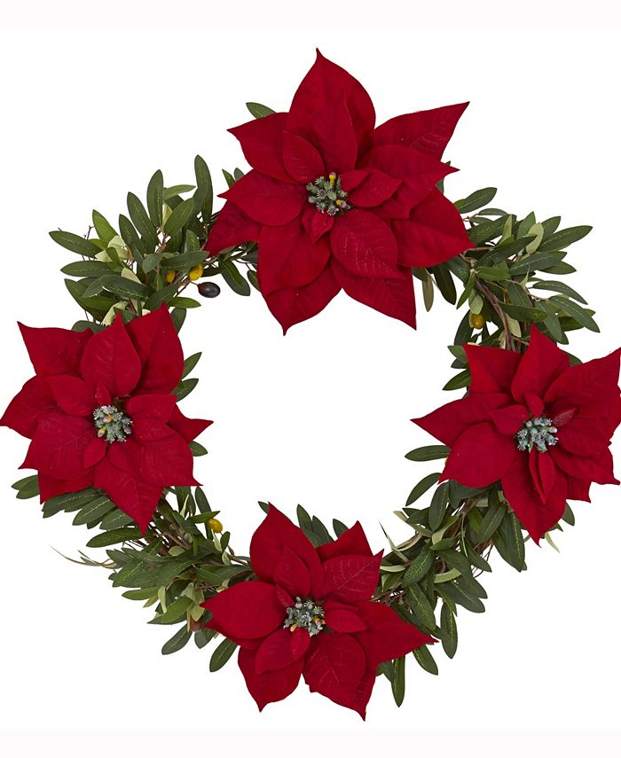 Nearly Natural - 21in. Olive with Poinsettia Artificial Wreath