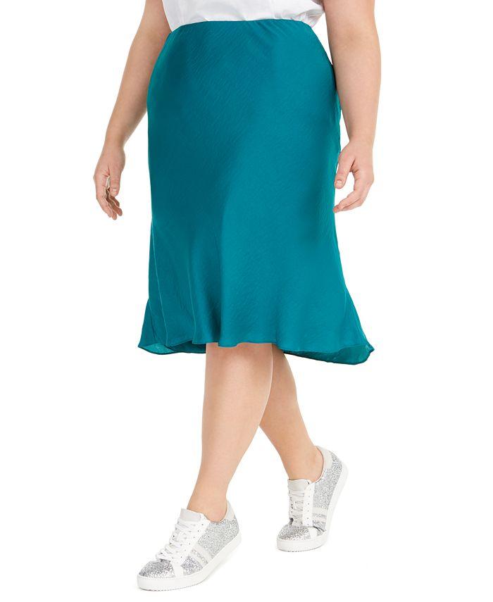 INC International Concepts - Plus Size Bias-Cut Midi Skirt
