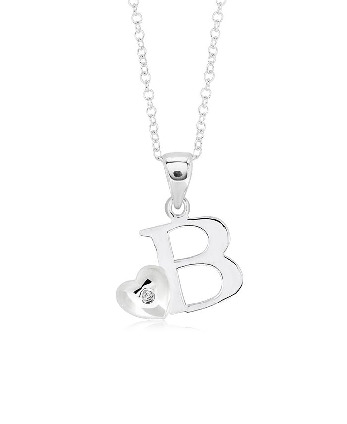 Rhona Sutton - Children's Initial Heart Pendant Necklace in Sterling Silver