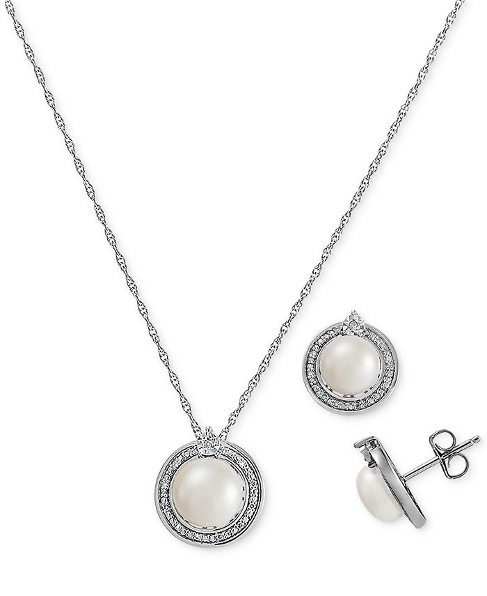 Macy's - 2-Pc. Set Cultured Freshwater Pearl (7-1/2 & 8-1/2mm) & Diamond (1/10 ct. t.w.) Halo Pendant Necklace & Matching Drop Earrings in Sterling Silver