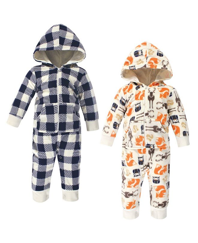 Hudson Baby Baby Boy Fleece Jumpsuits, 2 Pack