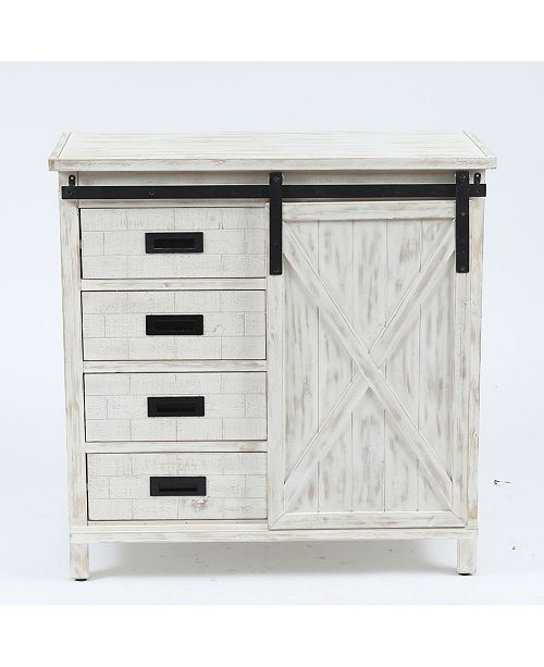 Luxen Home Wood Farmhouse Storage Cabinet Reviews Furniture Macy S