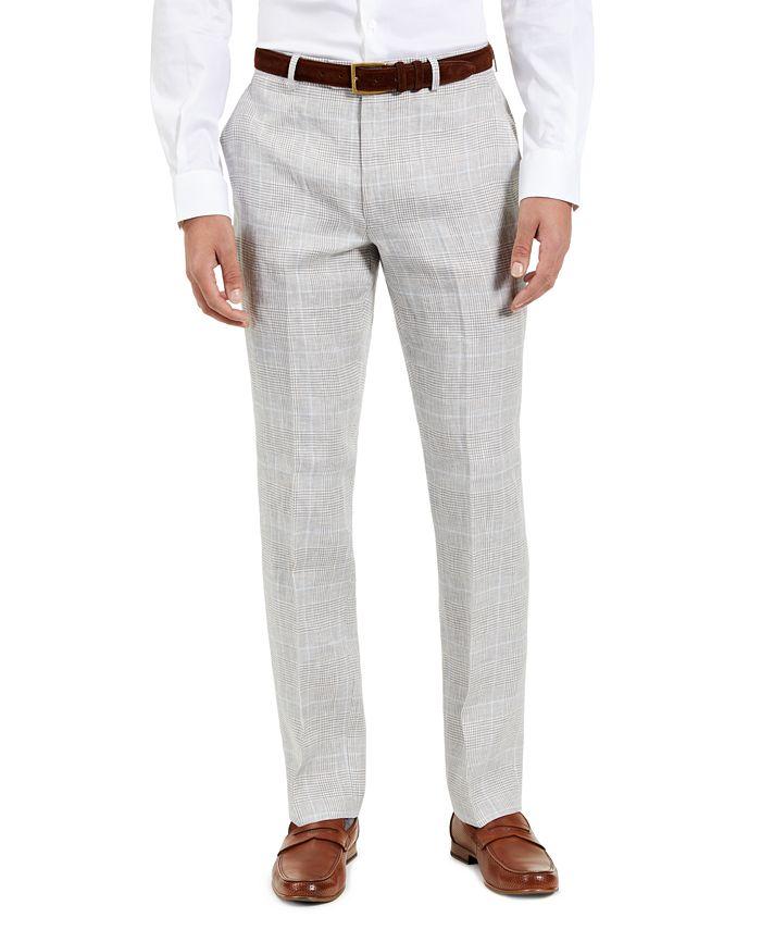 Lauren Ralph Lauren - Men's Classic Fit Ultra-Flex Light Grey and Blue Plaid Suit Separate Pants