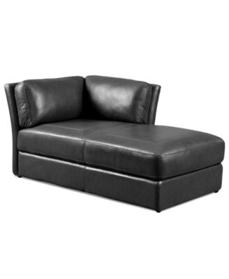 Alessia leather chaise lounge chair tufted 34 w x 65 d x for Alessia leather chaise