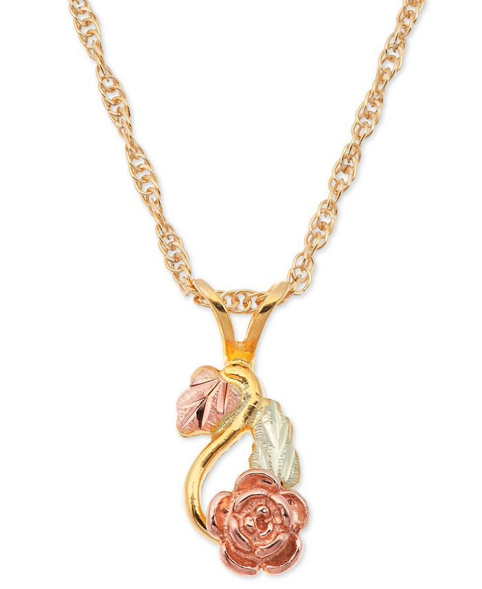 Black Hills Gold - Rose Pendant in 10k Yellow Gold with 12k Rose and Green Gold