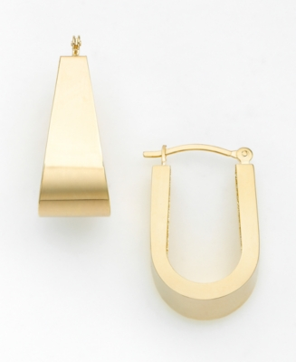 14k Gold Polish Oval Hoop Earrings
