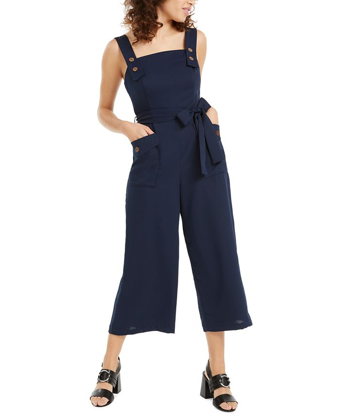 Crystal Doll - Juniors' Solid Button-Detail Jumpsuit