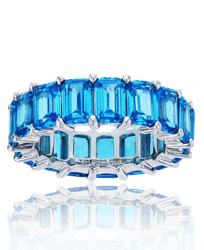 Macy's - Blue Cubic Zirconia Eternity Band in Rhodium Plated Sterling Silver