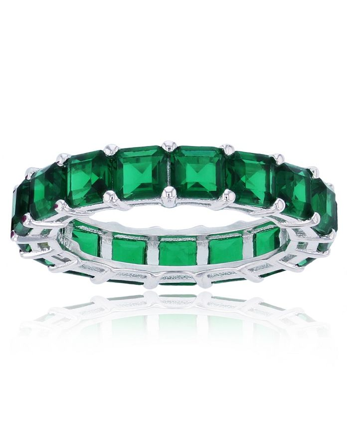 Macy's - Green Cubic Zirconia Eternity Band in Rhodium Plated Sterling Silver