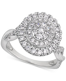 Certified Diamond Cluster Ring (1 ct. t.w.) in 14k White Gold
