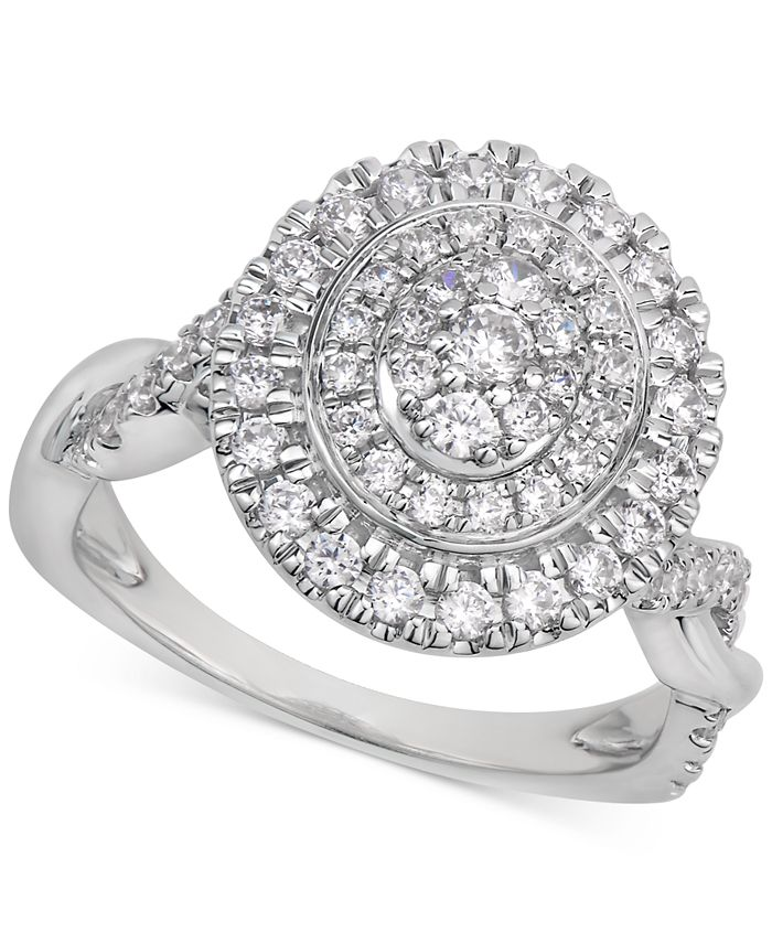 Macy's - Certified Diamond Cluster Ring (1 ct. t.w.) in 14k White Gold