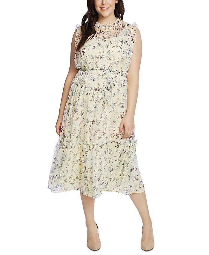 CeCe - Plus Size Wisteria Vines Ruffled Midi Dress