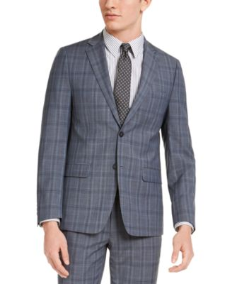 Men's Skinny-Fit Gray/Blue Plaid Suit Jacket