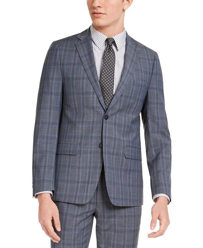 Calvin Klein - Men's Skinny-Fit Gray/Blue Plaid Suit Jacket