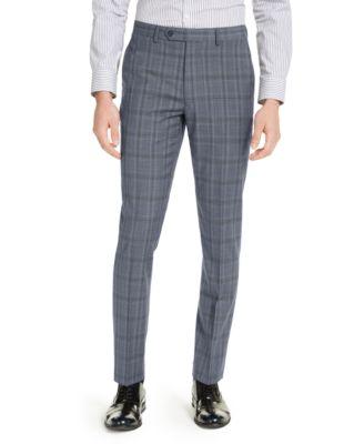 Men's Skinny-Fit Gray/Blue Plaid Suit Pants