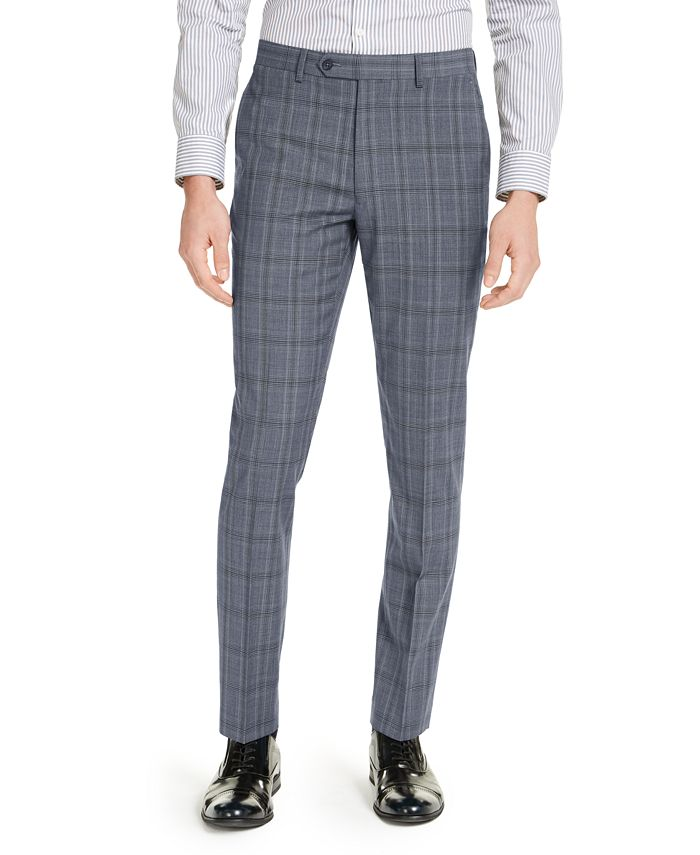 Calvin Klein - Men's Skinny-Fit Gray/Blue Plaid Suit Pants
