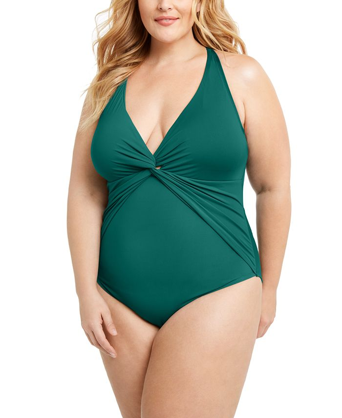 Bleu by Rod Beattie - Trendy Plus Size Plunging Halter One-Piece Swimsuit