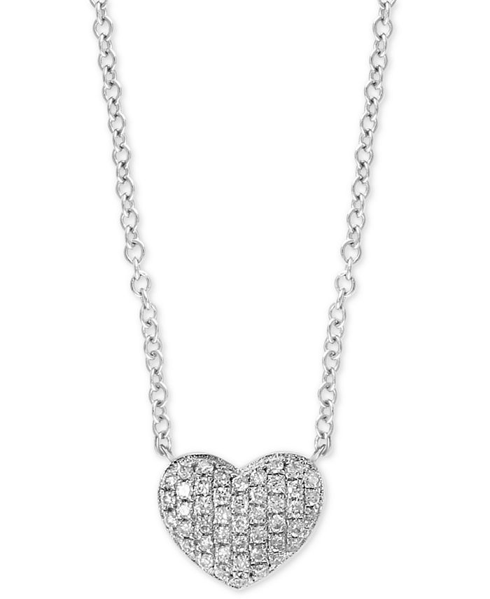 """EFFY Collection - Diamond Pavé Heart 18"""" Pendant Necklace (1/8 ct. t.w.) in Sterling Silver"""