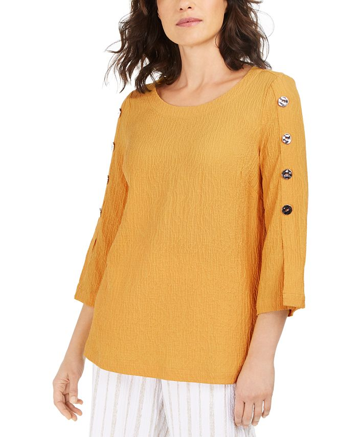 JM Collection - Button-Sleeve Crinkle Top, Created For Macy's