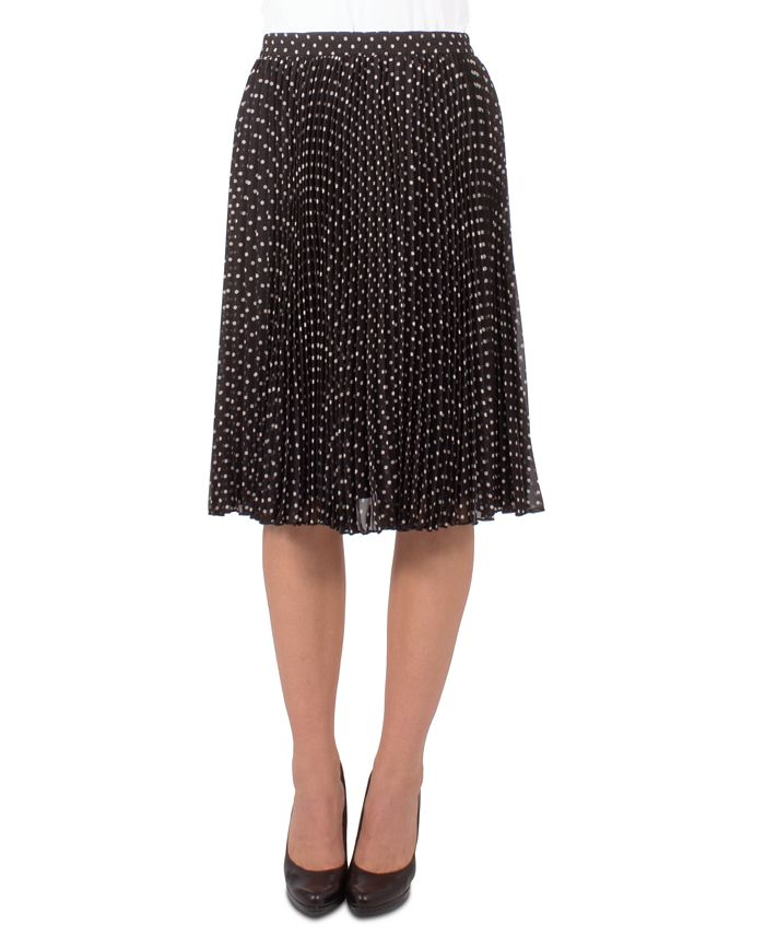 NY Collection - Petite Dot-Print Pleated Skirt